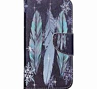 Blue Feathers Painted PU Phone Case for Galaxy J5