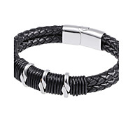 L:22CM W:1.4CM Fashion Stainless Steel Silver 316L Men Magnet Black Leahter Bracelet(1PC)