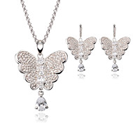 Women Gold Wedding Gifts Austrian Crystal Butterfly Shape Necklace Earrings Set Clavicle Chain