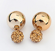 European Style Fashion Rhinestone Ball CCB Double Sided Stud Earrings