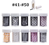 New 100Designs Nail Art Transfer Foil Paper 10pcs + 1pcs Nail Foil Glue (from #41 to #50)