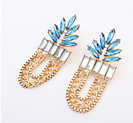 Fashion Exaggerated Personality Leaves Sapphire-jewelry Earrings