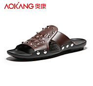 Aokang Men's Leather Sandals Brown