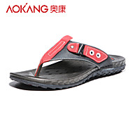 Aokang Men's Leather Slippers Red