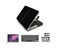 """4 en 1 caso de la cubierta de la PU + cubierta del teclado + protector de pantalla + enchufe del polvo para MacBook Pro / 13 """"/ 15"""""""