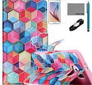 padrão diamondcheck caso de couro de coco fun® pu com cabo usb v8, flim, caneta e stand para Samsung Galaxy s6 borda