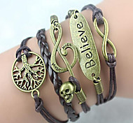Leather Bracelet Multilayer Alloy Heart Infinite Handmade Bracelet