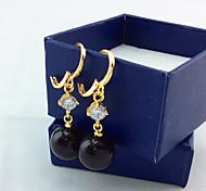 Women's fashion black pearl earring
