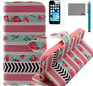 LEXY® Rose Stripe Pattern PU Full Body Leather Case with Screen Protector and Stylus for iPhone 5C