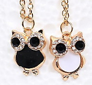 Natural Owl Diamond Collarbone Chain Pendant Necklace