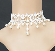 Gothic Style Exquisite White Lace Pearl Beads Pendent Necklace