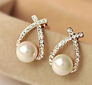 European Style Fashion Rhinestone Crossover Pearl Earrings