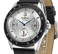 Herren Armbanduhr Mechanische Uhr Mechanischer Handaufzug Armbanduhren für den Alltag Leder Band Luxuriös Schwarz Weiß Schwarz Rot
