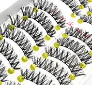 10 Pairs Magic Natural Black False Eyelashes Fake Lashes Individual Lash Luster High Quality Cotton Strip Lash