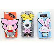 Pig/Dog/Rabbit PC With A Fluffy Back Case For Iphone 6plus/6s Plus(Assorted Color)