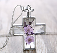 Personality  Purple Dried Flowers Cross Necklace