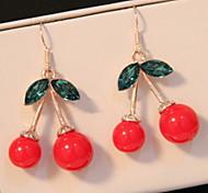 Cherry Alloy Crystal Green Leaf Drop Earrings