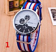 Woman And Man Striped Canvas Nylon Strap Wrist  Watch