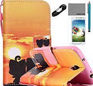Funda de piel de coco Fun® patrón amante de la PU con el cable USB v8 lápiz flim y soporte para Samsung Galaxy S4 / S4 Mini / S5 / mini-s5
