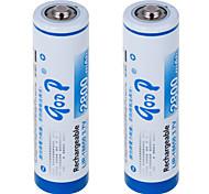 LIR-18650 3.7V 2800 mAh LI-ION Rechargeable Battery (2PCS)White & Blue
