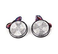 2x Car Auto Vehicle White Round Brake Stop Tail Rear Light Lamp Bulb High Power