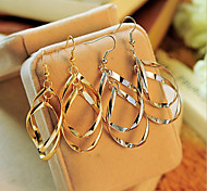 European Style Fashion Multilayer Warp  Circle Alloy Drop Earrings