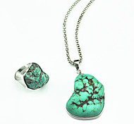 Vintage Look Copper Irregular Turquoise Stone Necklace Adjustable Ring Jewelry Set(1Set)