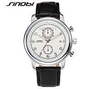 SINOBI Men's Wrist watch Calendar Water Resistant / Water Proof Sport Watch Quartz Leather Band Black