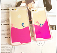Fun Lovely Couple Dolphin Liquid Back Quicksand Transparent Clear PC Hard Cover For iPhone5c