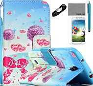 Coco patrón de diente de león amante Fun® cuero de la PU de cable caso lápiz flim y soporte para Samsung Galaxy S4 / S4 Mini / S5 /