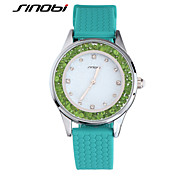 SINOBI® Girls Fashion Quartz watch Ladies Silicone Diamond Green Wristwatches Women Waterproof Watches Relojes Mujer Cool Watches Unique Watches