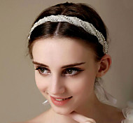 Handmade White Sigle Row Headband Hair Jewelry for Wedding Party
