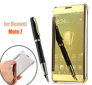 Luxury Elegant Smart Flip Slim S-View Electroplated Mirror Hard Clear Transparent Case Cover For Huawei Mate 7