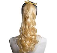 24inch bas prix de haute qualité 100g blond queue de cheval synthétique cheveux ondulés.