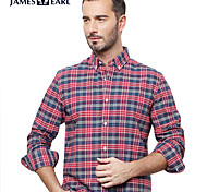 JamesEarl Men's Shirt Collar Long Sleeve Shirt & Blouse Red - DA192034201