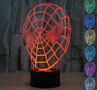 Visual 3D Spider Man Model Mood Atmosphere LED Decoration USB Table Lamp Colorful Gift Night Light