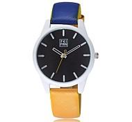 Unissex Relógio de Moda Quartz Relógio Casual PU Banda Relógio de Pulso Laranja