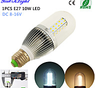 YouOKLight® 1PCS E27 10W 900lm 54-2835SMD  3500K/6500K High quality & low dc voltage LED Light Corn Bulbs (DC 8~16V)