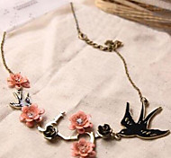 New Arrival Fashion Jewelry Retro Flower Swallow Necklace