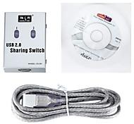 shengwei® 2-puerto de conmutación automática compartir usb2.0 con los cables usb