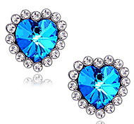 Women's Heart-shaped Diamond Sapphire Stud Earrings