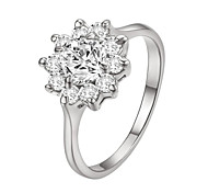 HKTC Fashion Series 18k White Gold Plated Sunflower Clear Cz Diamond Valentine's Day Gift RingImitation Diamond Birthstone