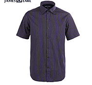 JamesEarl Men's Shirt Collar Short Sleeve Shirt & Blouse Taupe - M21X5000618
