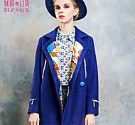ELFSACK Femme Col de Chemise Manche Longues Laine et Mélanges Bleu / Jaune - 1432129