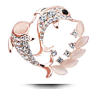 The Korean High-Grade Diamond Inlaid Alloy Dolphin Opal Brooch