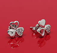 South Korea Fashionable Clover Platinum Diamond Stud Earrings ED022