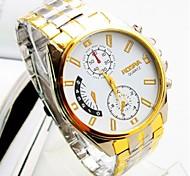marchio di lusso ROSRA oro grandi quarzo acciaio inossidabile quadrante rotondo dell'orologio da polso uomini casuale affari Relogios