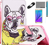 COCO FUN® Noble Dog Pattern PU Leather Case with V8 USB Cable, Flim and Stylus for Samsung Galaxy Note 5