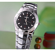 vintage Dress Luxury Trendy men Hour black Round Dial Silver Stainless steel Quartz Wrist Watch