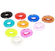 Fashion Multicolor Telephone Lines Stretch Plastic Hair Ties For Kids (Color Randomly)